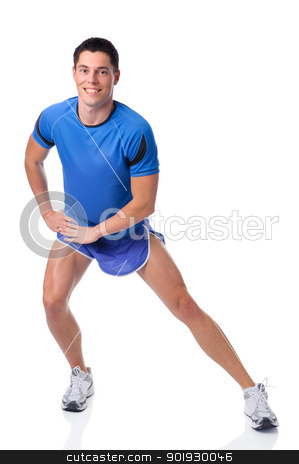 Stretching stock photo, Full isolated studio picture from a young sports man by Picturehunter