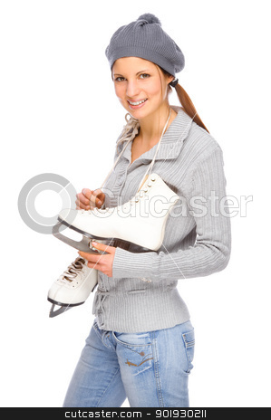 Girl with ice skate stock photo, Full isolated studio picture from a young woman with ice skate by Picturehunter