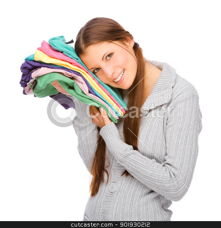 Girl with clothes stock photo, Full isolated studio picture from a young girl with clothes by Picturehunter