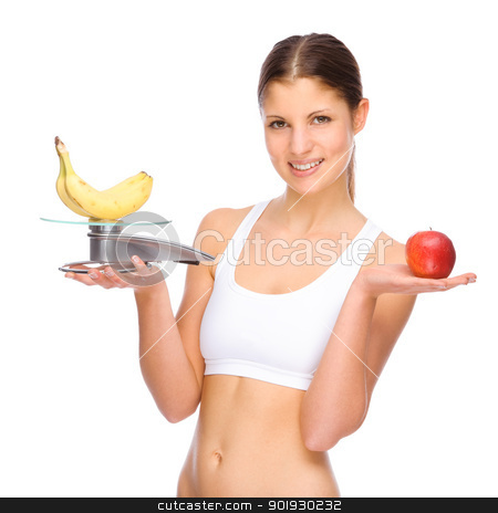Healthy eating stock photo, Full isolated studio picture from a young woman with some fruits by Picturehunter