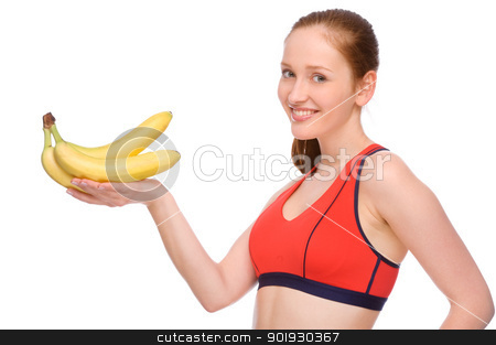 Healthy eating stock photo, Full isolated studio picture from a young woman with banana by Picturehunter