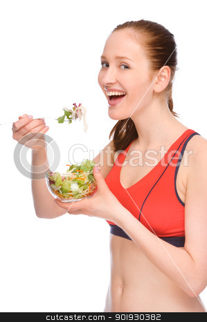 Woman with salad stock photo, Full isolated studio picture from a young woman with salad by Picturehunter