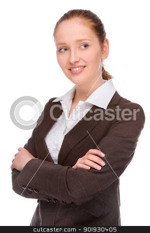 Business stock photo, Full isolated studio picture from a young Businesswoman  by Picturehunter