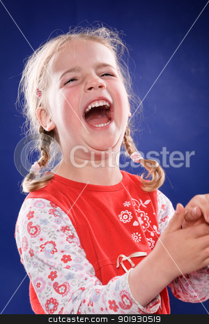 Just happy stock photo, Studio picture from a little and happy girl by Picturehunter
