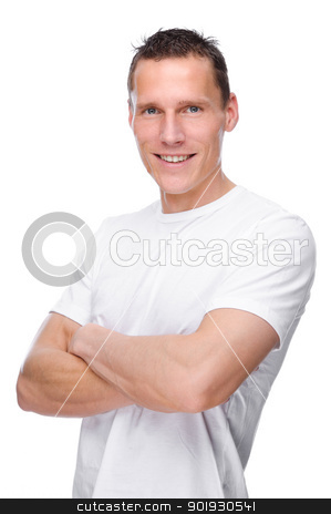 Young man stock photo, Full isolated portrait of a young man by Picturehunter