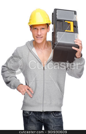 Craftsman stock photo, Full isolated studio picture from a young craftsman by Picturehunter