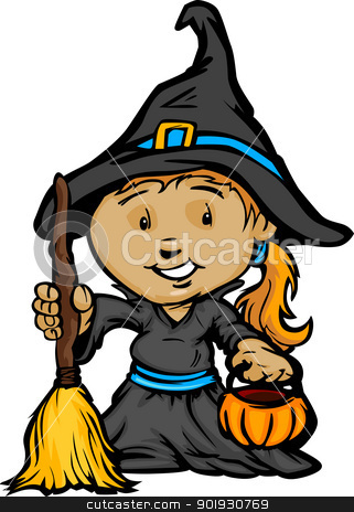 Cute Halloween Girl In Witch Costume Cartoon Vector Illustration stock vector clipart, Cartoon Vector Image of a Happy Halloween Witch Girl With Trick or Treat Jack-O-Lantern by chromaco