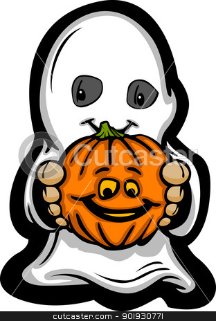 Cute Halloween Kid In Ghost Costume Cartoon Vector Illustration stock vector clipart, Cartoon Vector Image of a Happy Halloween Ghost With Smiling Jack-O-Lantern by chromaco