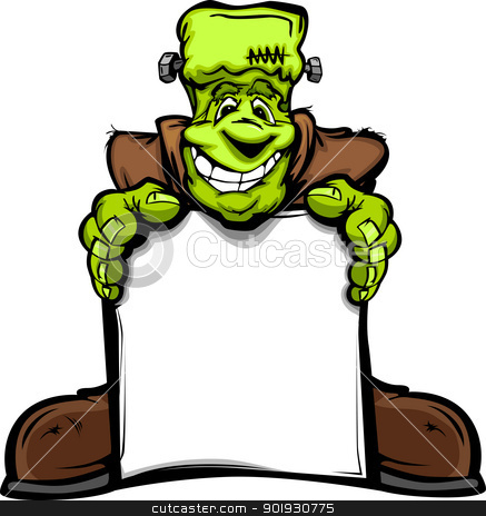 Happy Frankenstein Halloween Monster with Sign Cartoon Vector Il stock vector clipart, Cartoon Vector Image of a Happy Halloween Monster Frankenstein Head Holding a Sign by chromaco
