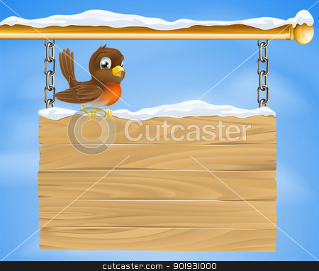 Christmas robin on wooden sign stock vector clipart, A loveable Christmas robin bird on wooden sign on a cold December winter day by Christos Georghiou