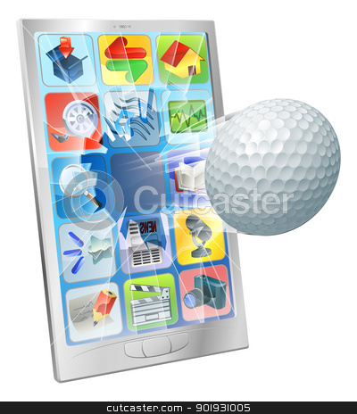 Golf ball flying out of cell phone stock vector clipart, Illustration of a golf ball flying out of cell phone screen by Christos Georghiou