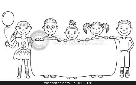 Cartoon Children Holding Empty Banner Stock Vector