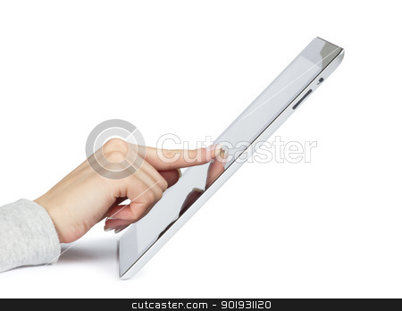 tablet pc stock photo, tablet computer in a hands  by Vitaliy Pakhnyushchyy