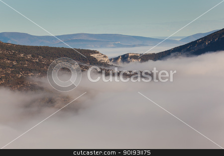 Fog in the Merindades, Valdenoceda, Burgos, Castilla y Leon, Spa stock photo, Fog in the Merindades, Valdenoceda, Burgos, Castilla y Leon, Spain by B.F.