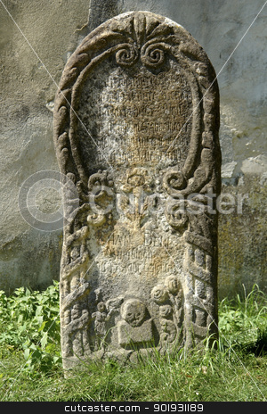 gravestone stock photo, historic gravestone in Sighisoara, a city in Transylvania located in Romania by prill