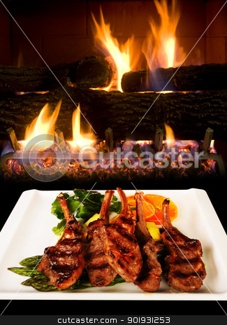 Lamb Chops. stock photo, Lamb chops by open fireplace. by WScott