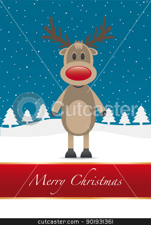 rudolph red nose merry christmas stock vector clipart, rudolph reindeer red nose merry christmas type by d3images