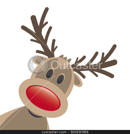 rudolph reindeer red nose stock vector clipart, rudolph reindeer red nose isolated white background by d3images