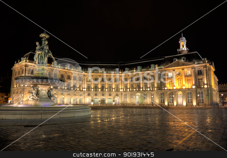 Square of the Bourse, Bordeaux, Aquitaine, France stock photo, Square of the Bourse, Bordeaux, Aquitaine, France by B.F.