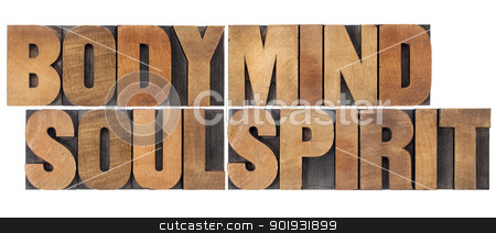 body, mind, soul and spirit stock photo, body, mind, soul and spirit - a collage of isolated words in vintage wood letterpress printing blocks by Marek Uliasz