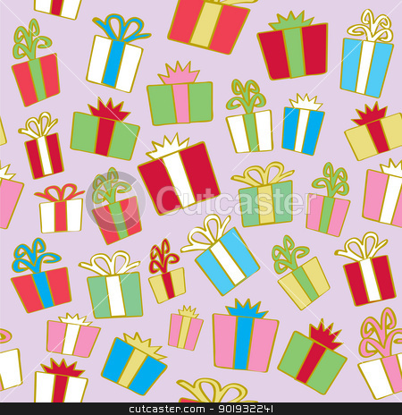 Seamless Holiday Gifts stock vector clipart, A seamless pattern of holiday gift wrapped packages with ribbons and bows in various colors. by Jamie Slavy