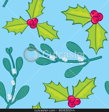 Seamless Holly and Mistletoe stock vector clipart, A seamless pattern of holly and mistletoe sprigs. by Jamie Slavy