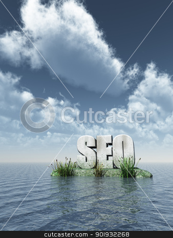 seo monument stock photo, the letters seo at water - 3d illustration by J?
