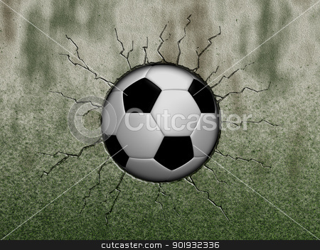 soccer ball stock photo, soccer ball in wound - 3d illustration by J?