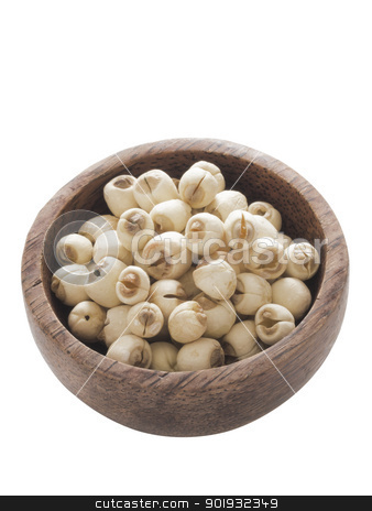 lotus seeds stock photo, close up of a bowl of lotus seeds isolated on white by zkruger
