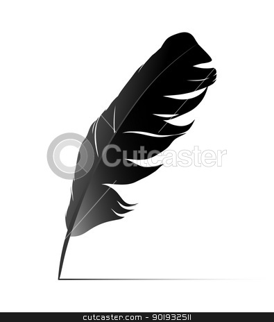 Feather stock vector clipart, Feather on white background vectr by Mikhail Puhachou