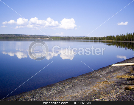 Yellowstone Lake Reflections stock photo, Reflections on Yellowstone Lake, USA by emattil