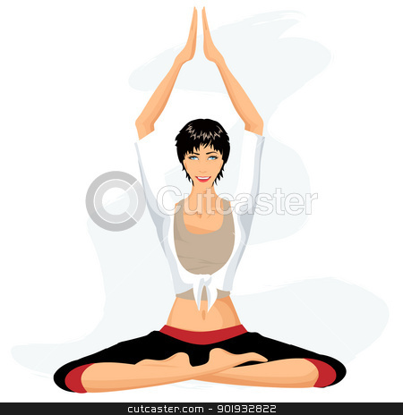 Beautiful woman practicing yoga in lotus posture (Padmasana) stock vector clipart, Beautiful woman practicing yoga in lotus posture (Padmasana) by Erdem