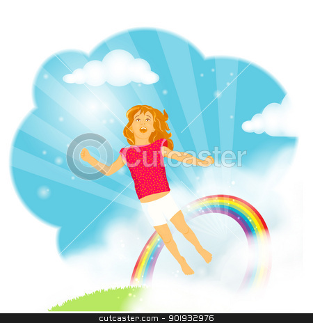 Little girl flying in the clouds stock vector clipart, Beautiful little girl with long hair flying from the grass trough a rainbow into the blue sky in amazement, wonder and excitement, celebrating live and imagination. EPS10
