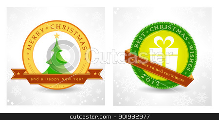 Merry Christmas and a Happy New Year stock vector clipart, Set of 2 Christmas, New Year background designs for the coming festive season 2012, 2013. Vector, eps10. by Ina Wendrock