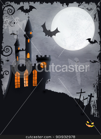 Spooky Halloween castle, vector background stock vector clipart, Halloween background with haunted castle, bats, ghosts, full moon and grunge elements