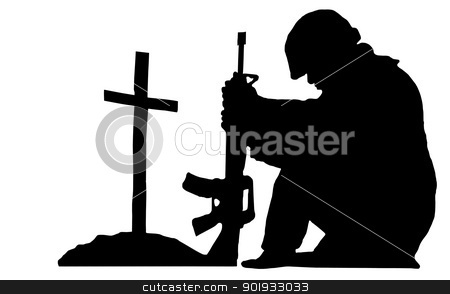 soldier silhouette stock photo, silhouette of a soldier kneeling next to the grave of a friend by digitalreflections