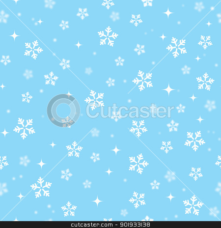 Snowflakes on blue sky - Christmas seamless background stock vector clipart, Xmas pattern - winter seamless background by Agnieszka Bernacka
