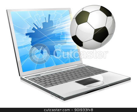 Soccer football laptop concept stock vector clipart, Illustration of a soccer ball or football flying out of a broken laptop computer screen by Christos Georghiou