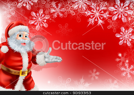 Red Santa Christmas Snowflake background stock vector clipart, A red Santa Christmas snowflake background with very detailed illustration of Santa Clause and beautifully depicted transparent snowflakes. by Christos Georghiou