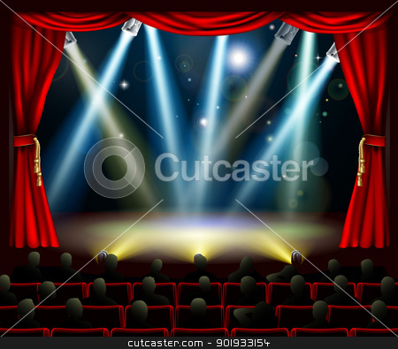 Start of amazing entertainment event stock vector clipart, Audience in silhouette watching stage with stage spotlights light show by Christos Georghiou