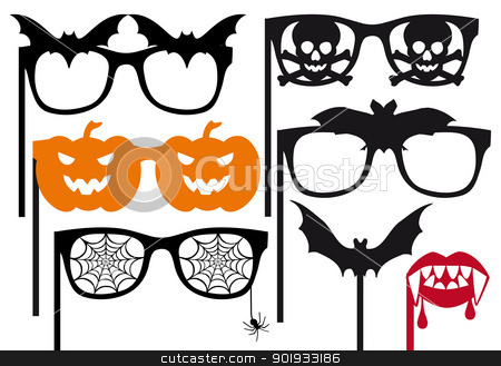halloween booth props, vector  stock vector clipart, halloween photo booth props on a stick, vector set by Beata Kraus