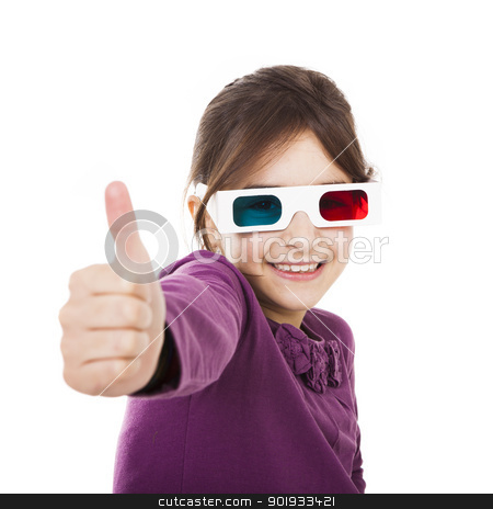 Girl with 3D glasses stock photo, Beautiful little girl wearing 3d glasses, isolated over a white background by ikostudio