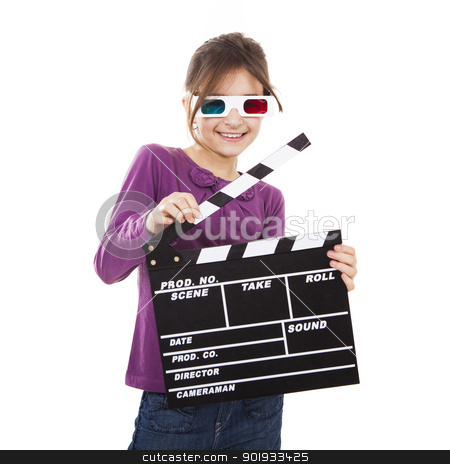 Girl with 3D glasses and a clapboard stock photo, Beautiful little girl wearing 3d glasses and holding a clapboard, isolated over a white background by ikostudio