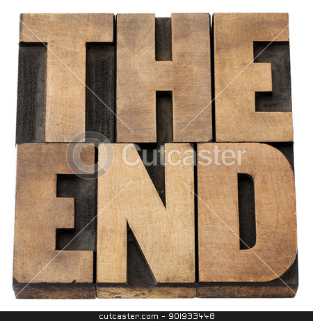 the end in wood type stock photo, the end - isolated text in vintage letterpress wood type by Marek Uliasz