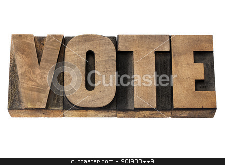 vote word in wood type stock photo, vote - election concept - isolated word in vintage letterpress wood type by Marek Uliasz