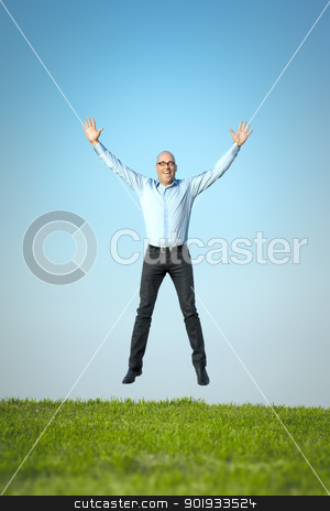 happy jumping man stock photo, An image of a happy jumping man by Markus Gann