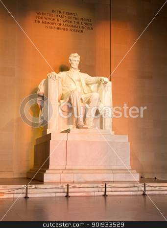 Sun at dawn illuminates Lincoln statue stock photo, Rising sunrise at dawn lights statue of President Lincoln in memorial in Washington DC by Steven Heap