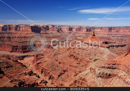Dead Horse Canyon stock photo, View looking into Dead Horse Canyon with blue sky by bobkeenan