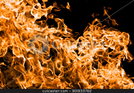 Flame stock photo, Orange flame burning on black background by Alexey Popov