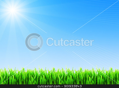 Spring grass stock photo, Fresh spring grass under blue sky by Alexey Popov